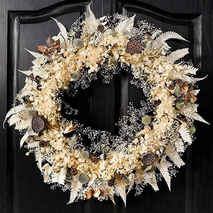 QUNWREATH 20 inch Wreaths for Front Door, White Wreath, Dried Flower Wreaths, White Real Plants and Various Berry Fruits, Christmas Party Home Decor