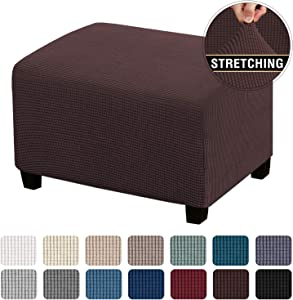 Stretch Ottoman Cover Ottoman Slipcovers Rectangle for Living Room Foot Stool Stretch Covers to Fit Ottoman Foot Rest, Thick Checked Jacquard Fabric with Elastic Bottom (Standard Size, Brown)