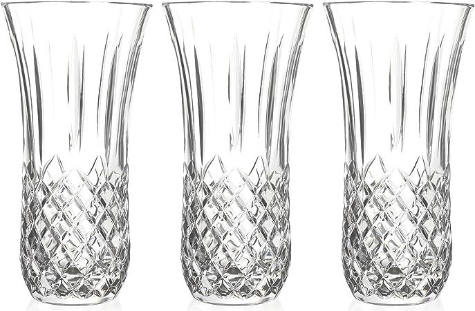 RCR cristal del vidrio de corte Opera Centro de mesa Vase - 300 mm - Pack de 3 decorativo de los floreros: Amazon.es: Hogar
