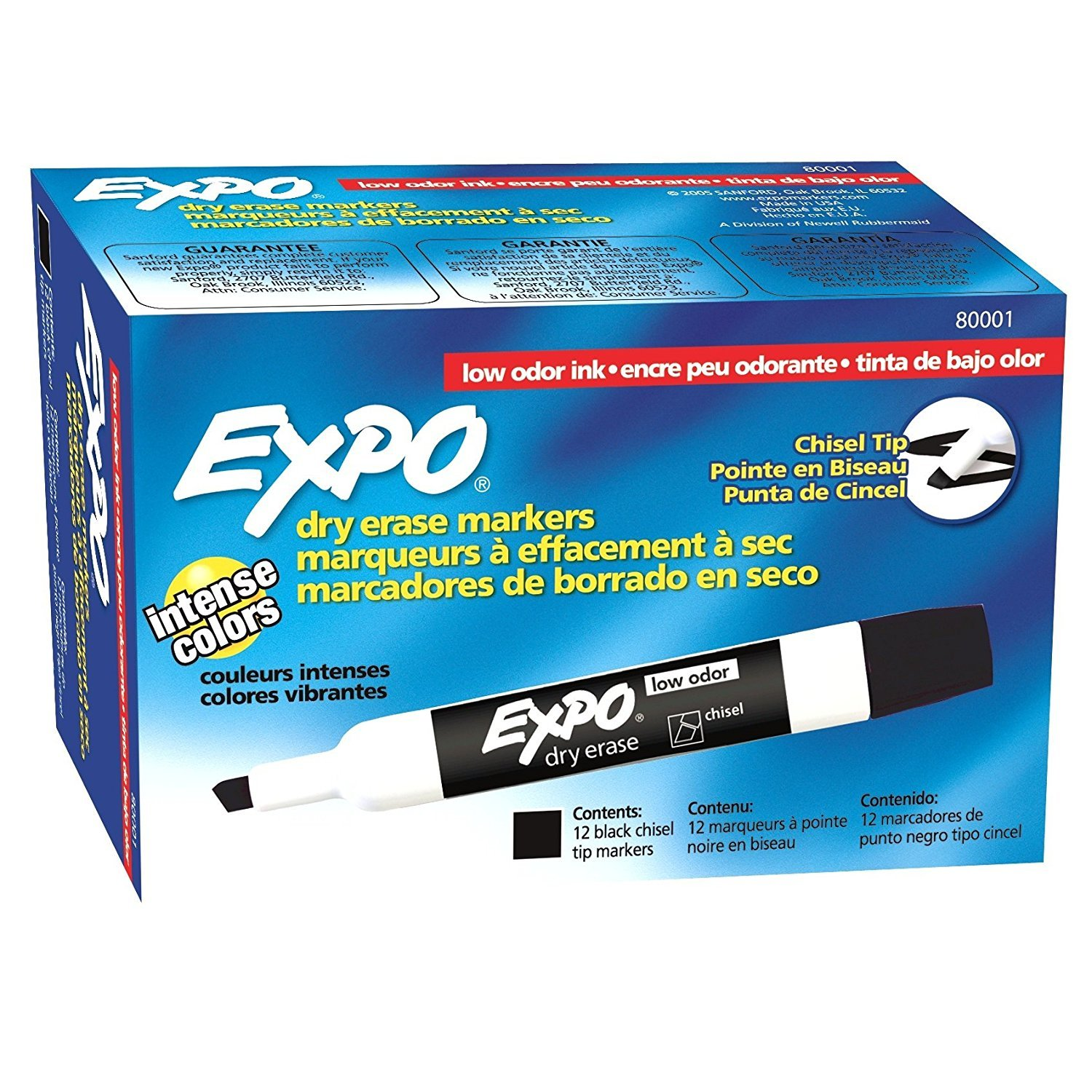 Expo 80001 Low Odor Chisel Point Dry Erase Markers, Black, 12 Units per Box, Pack of 6 Boxes, 72 Markers Total, Includes 5 Color Flag Set by Expo (Image #2)
