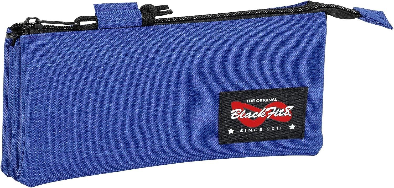 Blackfit8-Blackfit Blackfit8-Estuche portatodo Triple, 841734744, Color Azul Oscuro, 22 cm (SAFTA: Amazon.es: Juguetes y juegos