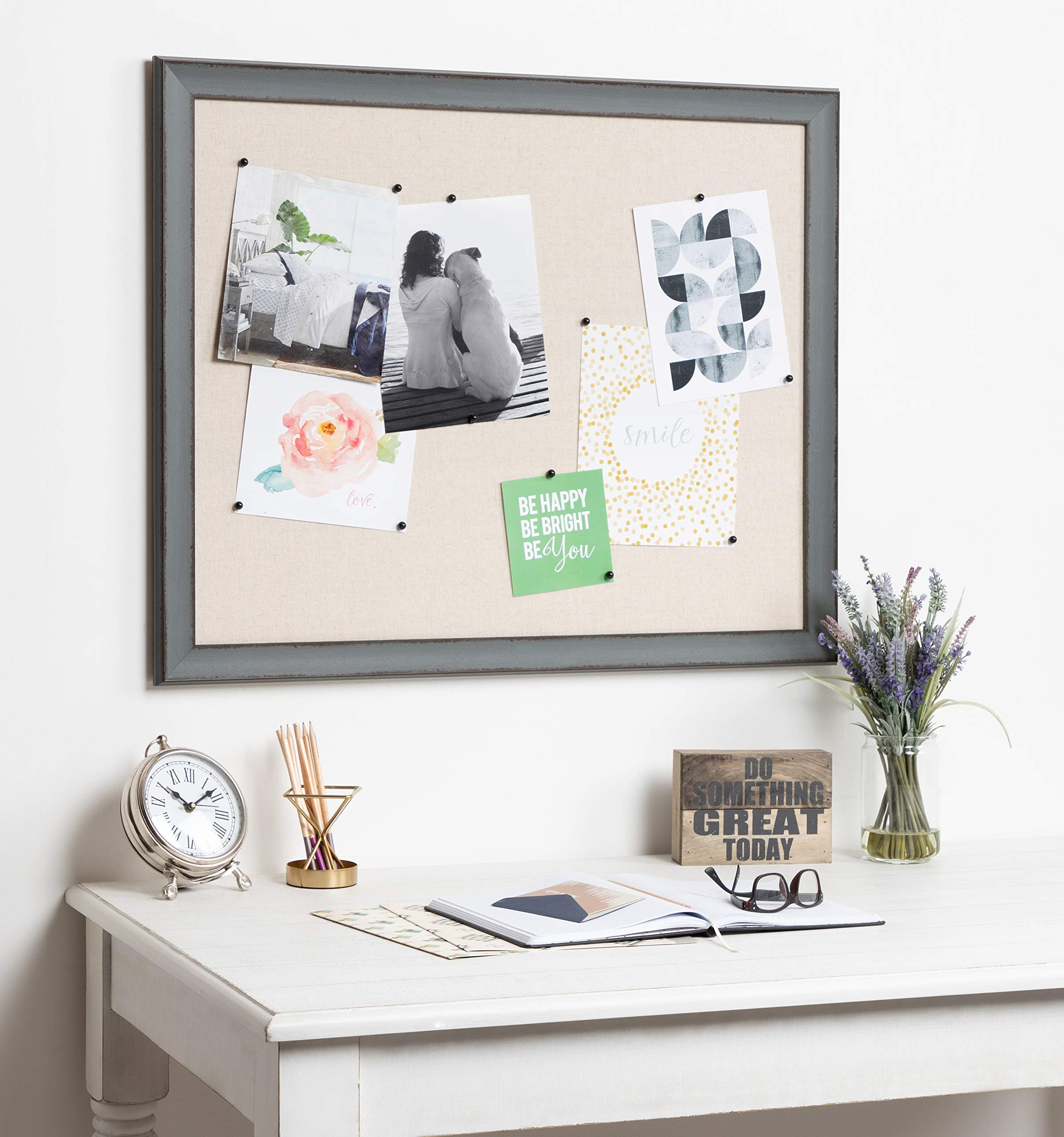 Kate and Laurel Kenwick Framed Linen Fabric Pinboard, 27x33, Gray Green by Kate and Laurel (Image #5)
