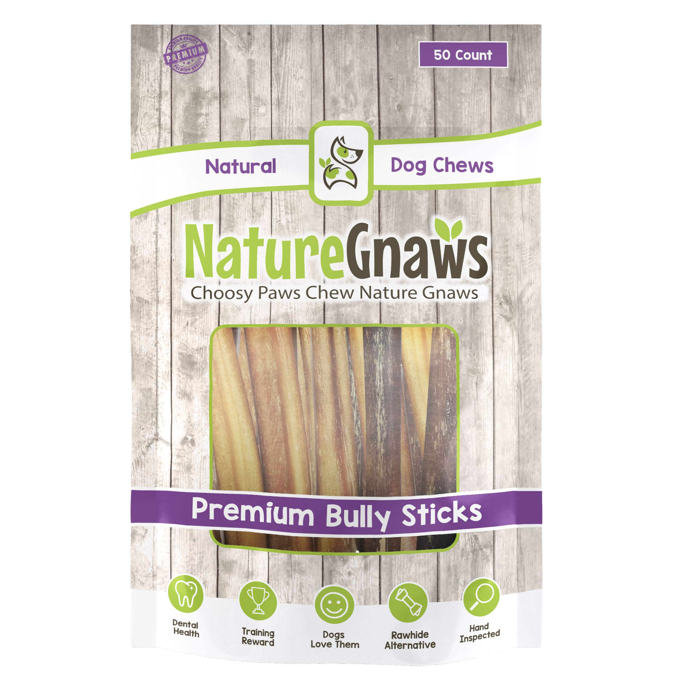 Nature Gnaws Large Bully Sticks 5-6 inch (50 Pack) Bulk - 100% Natural Grass-Fed Beef Dog Chews by Nature Gnaws
