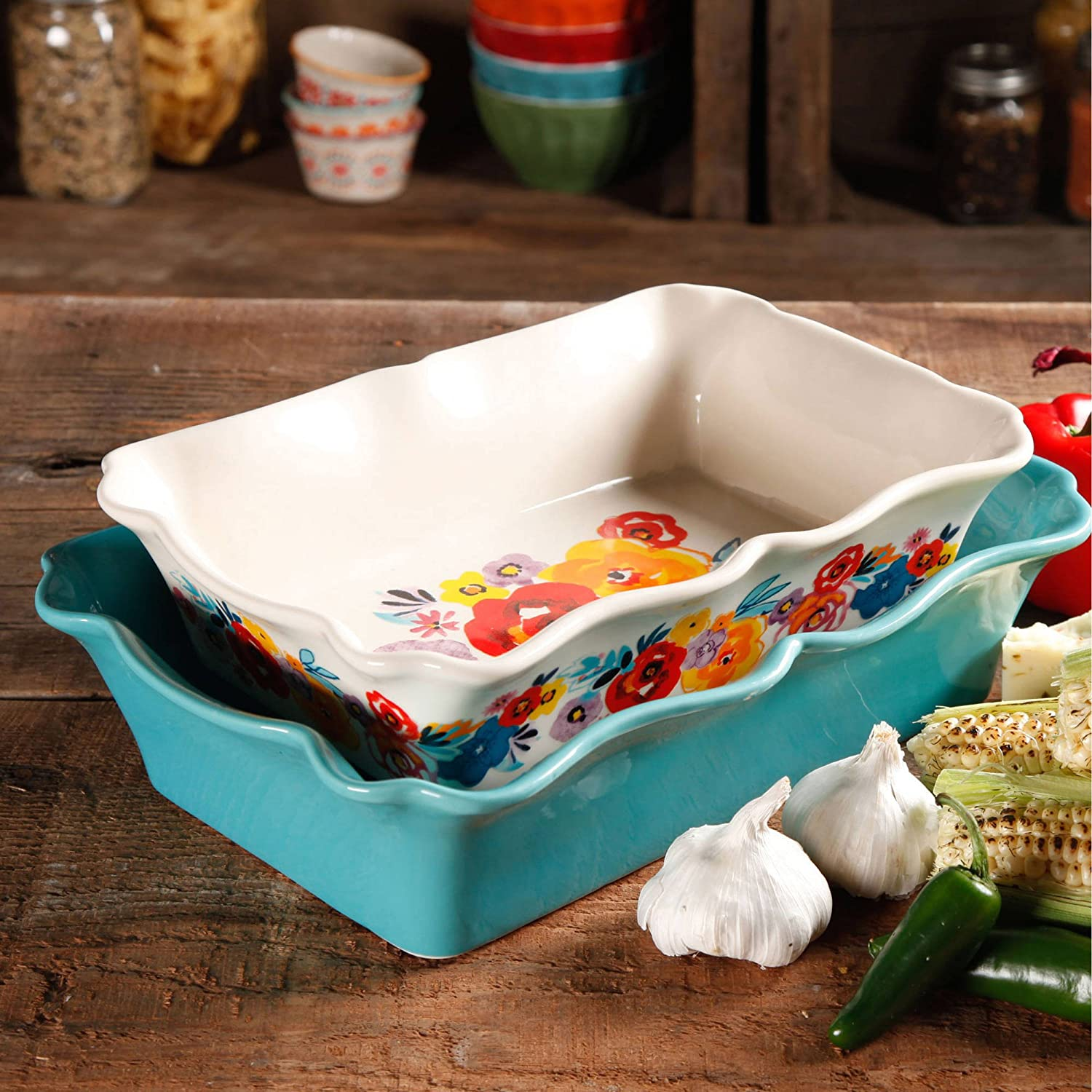 The Pioneer Woman Flea Market 2-Piece Decorated Rectangular Ruffle Top Ceramic Bakeware Set by The Pioneer Woman 82829.02R