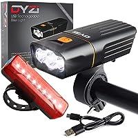 DYZI USB Rechargeable Bike Lights Set -Waterproof Front Headlight & Tail Light Easy to Fit & Mount, Built in Powerbank…