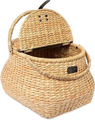 BirdRock Home Seagrass Picnic Basket – Hand Woven – Seagrass – Decorative Metal Latches – Divided Lid – Home D cor – Folding Handles
