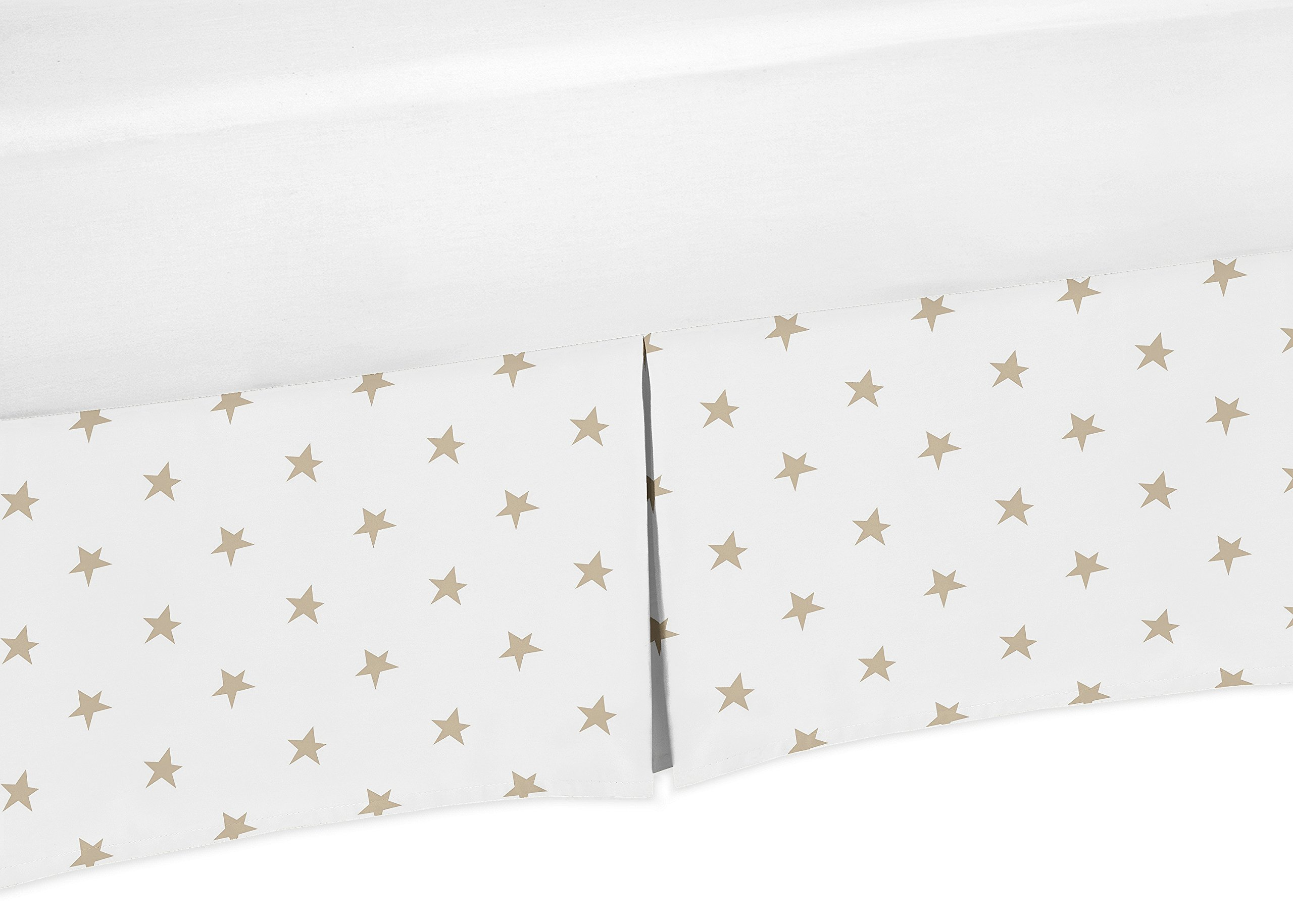 Sweet Jojo Designs Gold and White Star Pleated Toddler Bed Skirt Dust Ruffle for Celestial Collection