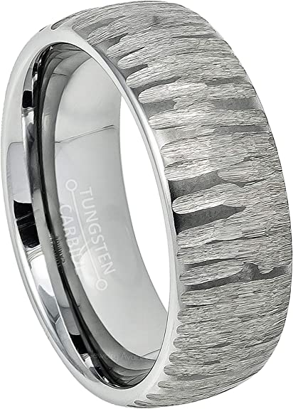 SilverBlack Domed Ring with Tree Bark Carved Texture Finish Comfort-Fit Tungsten Ring Unisex 8mm