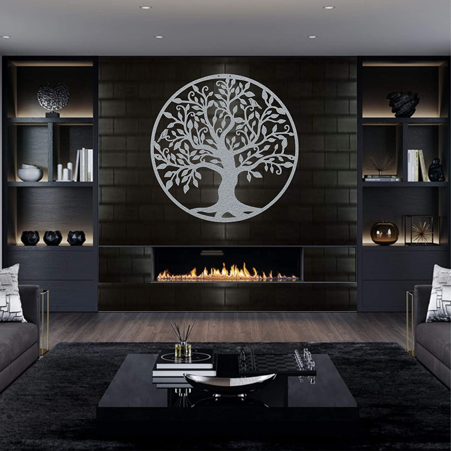 """Metal Wall Art - Silver Grey Tree of Life - Metal Family Tree - Metal Wall Silhouette, Metal Wall Decor, Home Office Decoration Bedroom Living Room Decor (27"""" W x 28"""" H / 68x71 cm)"""