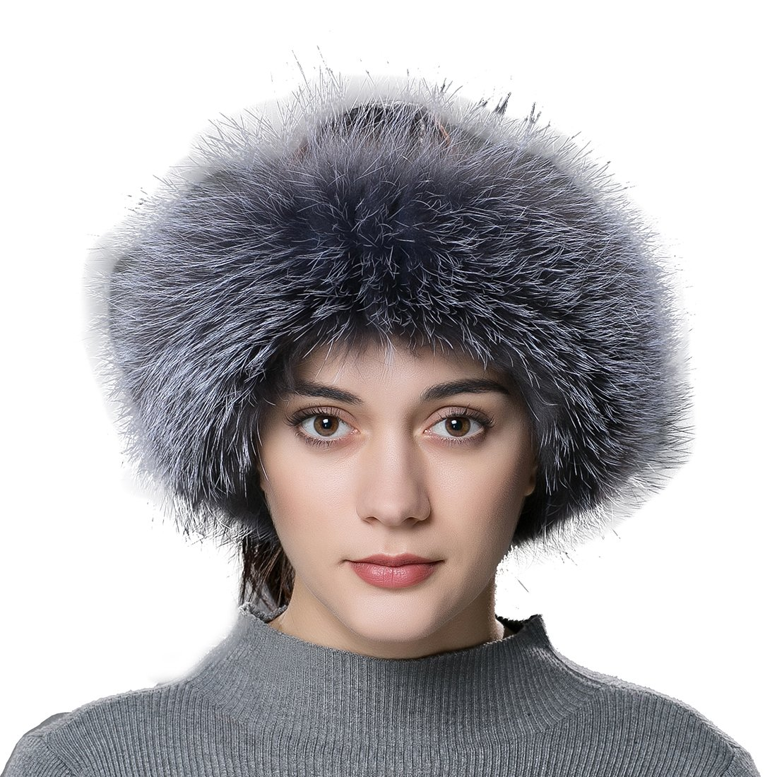 URSFUR Women Fur Headband Real Fox Fur Knitted Scarf Ear Protector Silver .Ltd. YQ-FD-F-6