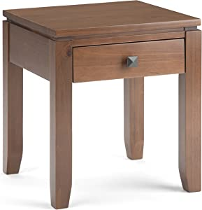 Simpli Home Cosmopolitan SOLID WOOD 18 inch wide Square Contemporary End Side Table in Medium Saddle Brown with Storage, 1 Drawer, for the Living Room and Bedroom