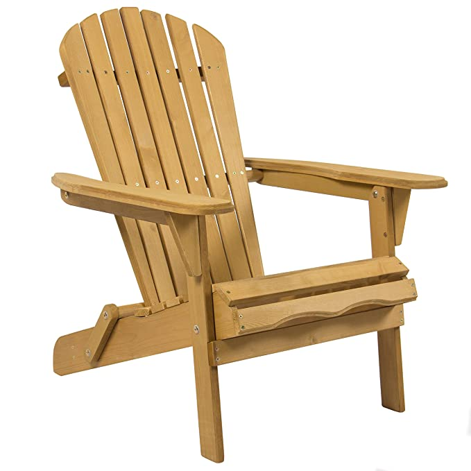Best Choice Products Foldable Wood Adirondack Chair Patio, Yard, Deck, Outdoor - Natural Finish