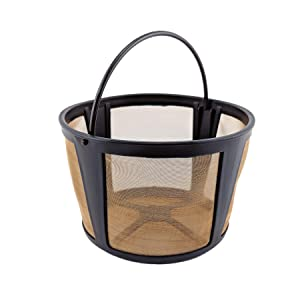 NRP Permenent Gold-tone Basket Coffee Filter 10-14 Cup Compatible for KRUPS Coffeemaker EC322, EC324 Mesh bottom - Also Fits More