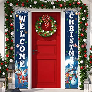 Christmas Decorations Welcome Christmas Banner , Christmas Door Decorations for Home Front Door Wall Party - Bule Christmas Porch Decorations