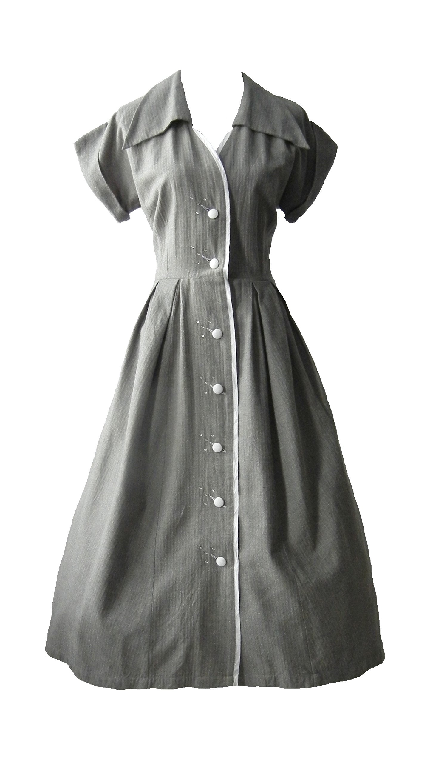 1950s Vintage Style Pin Up Rockabilly Shirt Waist Dress