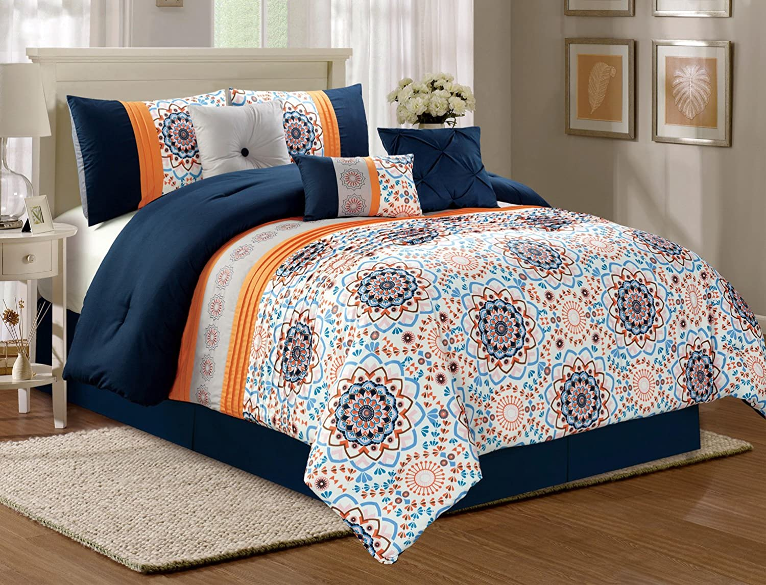 Modern 7 Piece Fine Print EMERY Bedding Navy Blue / White / Orange QUEEN Over Pleat Comforter Set with accent pillows