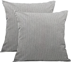 Pack of 2, Cotton Woven Striped Throw Pillow Covers Set, Decorative Cushion Covers, Square Farmhouse Pillowcases, for Couch Bed Sofa 20x20 Inch/50x50 cm (Black)