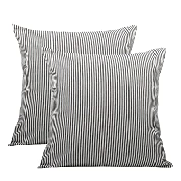 Admirable Comho Pack Of 2 Cotton Woven Striped Throw Pillow Covers Set Decorative Cushion Covers Square Farmhouse Pillowcases For Sofa Bedroom Car Chair Gmtry Best Dining Table And Chair Ideas Images Gmtryco