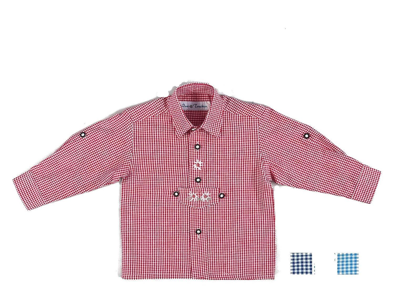 Isartrachten Baby Jungen Trachtenhemd kariert (80, rot)