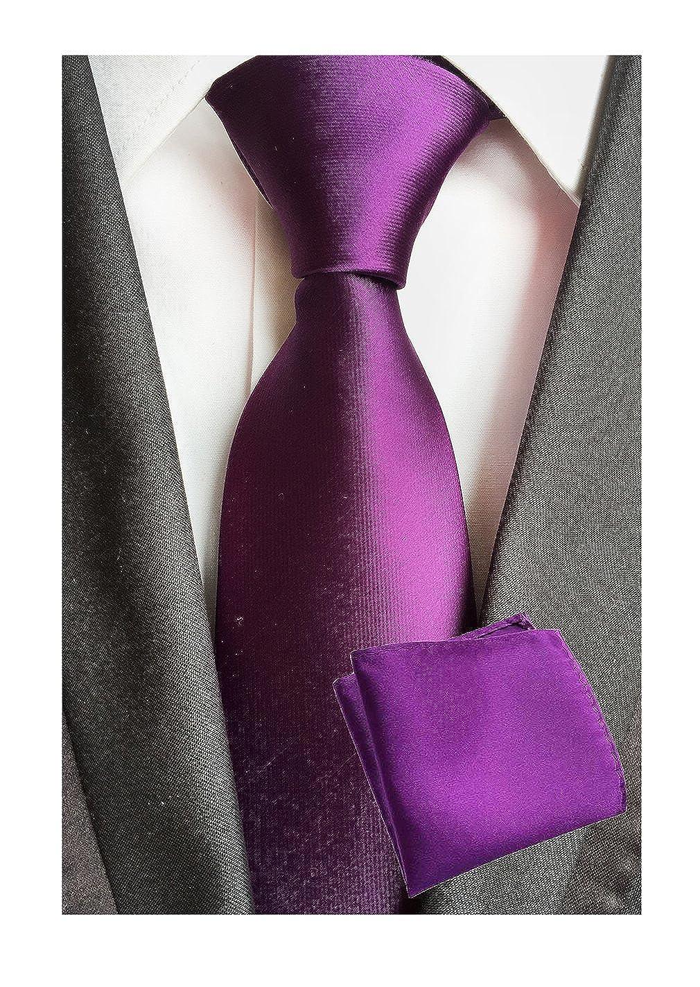 MOHSLEE Mens Purple Wedding Tie Handkerchief Banquet Necktie /& Pocket Square Set
