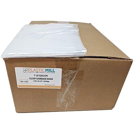 Amazon.com: plasticmill 7 – 10 galones Claro bolsa de basura ...