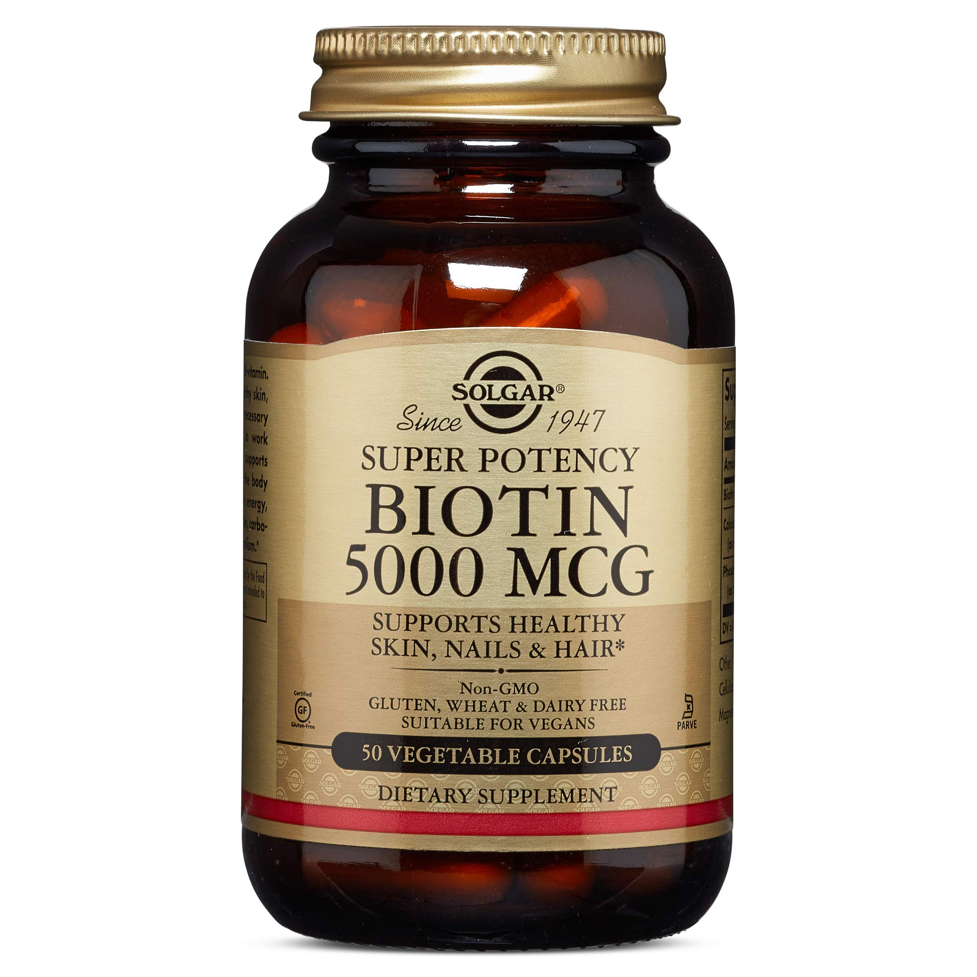 Biotin, 5000 mcg, 50 V Caps by Solgar (Pack of 4) by Solgar
