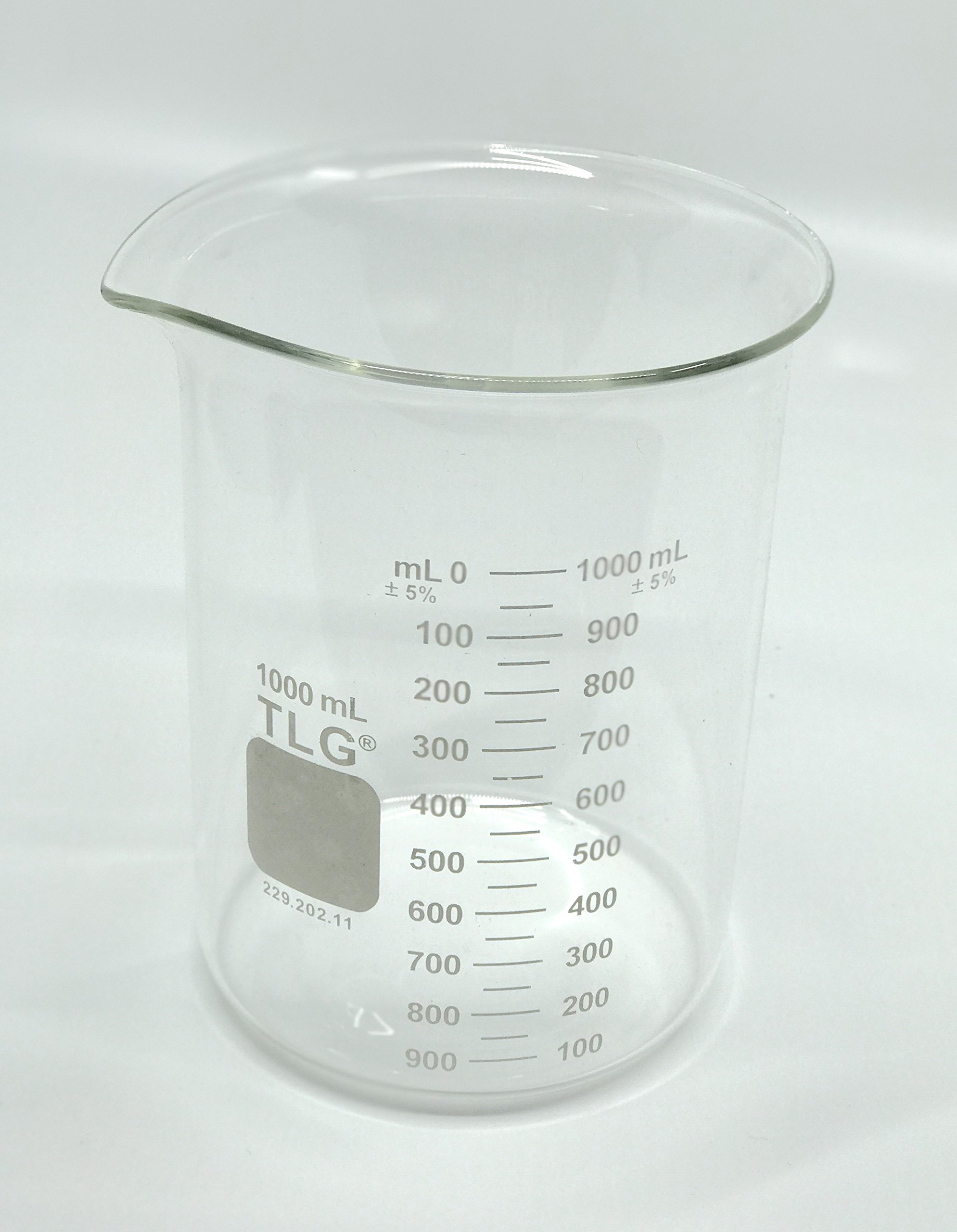 CHEM SCIENCE INC 229.402.11 229.202.11 Beaker, Standard Wall, Griffin Low Form, Double scale, Graduated, 1000 Ml (Pk/6), 1000Milliliters, Degree C, Borosilicate GLASS, (Pack of 6)
