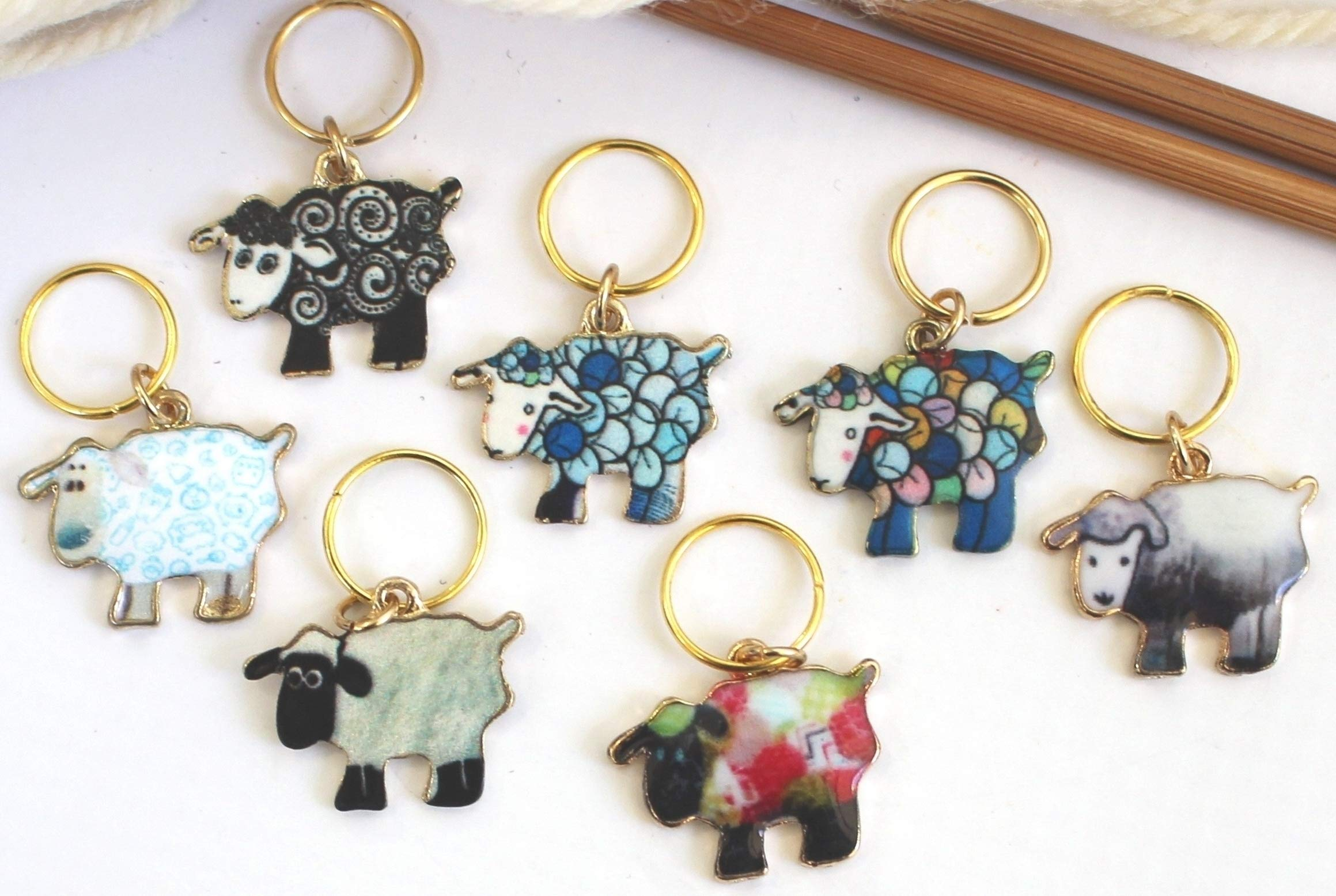 Set of 7 Sheep Stitch Markers for Knitting Knit Pattern Reminder Stitchmarker Pattern Helper Knitter Gift