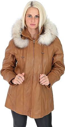 Womens Duffle Leather Coat TAN Zip Up Detachable Hood Classic Comfort Fit Parka