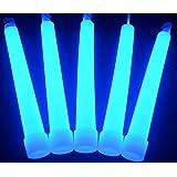 "Glow Sticks Bulk Wholesale, 25 6"" Industrial Grade Blue Light Sticks. Bright Color, Glow 12-14 Hrs, Safety Glow Stick with 3-year Shelf Life, Glow With Us Brand"