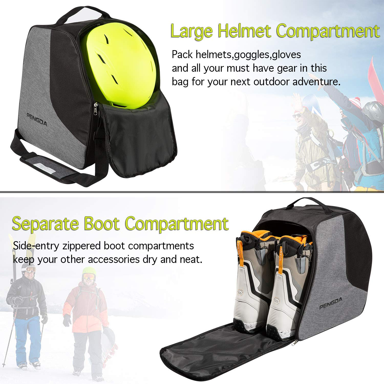 Ski Apparel /& Boot Storage Gloves 2 Separate Compartments Goggles PENGDA Ski Boot Bag/- Snowboard Boot Bag Premium Snow Gear Travel Shoulder Bag for Ski Helmets