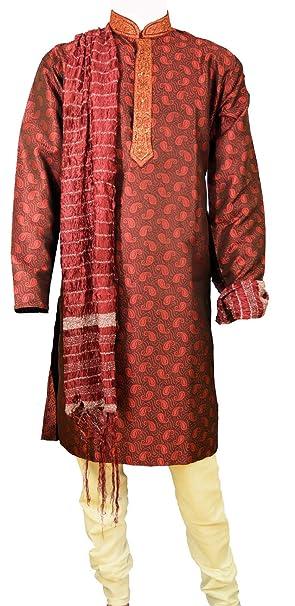 Para hombre Jacquard Rojo Kurta Pijama Salwar Kameez Sherwani indio Outfit Rojo rosso