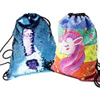 Sequin Bag Mermaid Drawstring Backpack Glitter Gym Dance Bag School Backpack Beach Hiking Travel Bags for Girls Kids Women Ladies