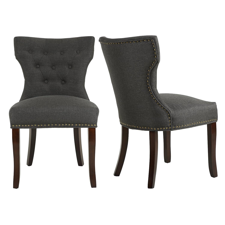 Amazon.com: LSSBOUGHT - Juego de 2 sillas de comedor de tela ...