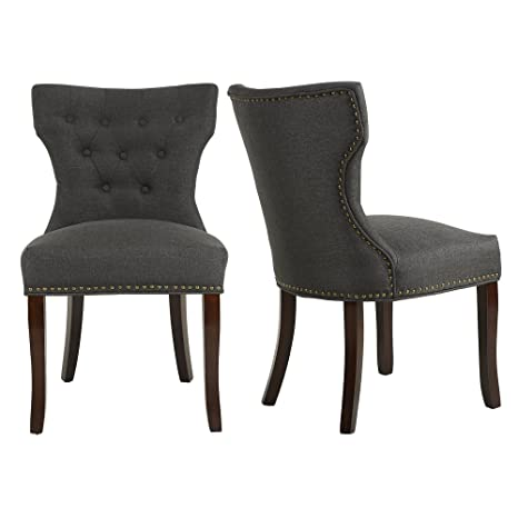 Remarkable Lssbought Set Of 2 Fabric Dining Chairs Leisure Padded Chairs With Brown Solid Wooden Legs Nailed Trim Charcoal Andrewgaddart Wooden Chair Designs For Living Room Andrewgaddartcom