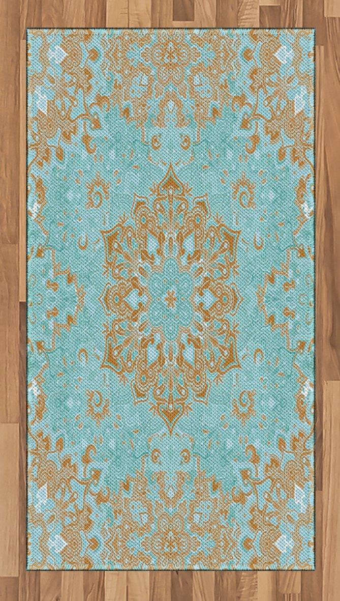 Ambesonne Mandala Area Rug, Mystic Psychedelic Vintage Kaleidoscope Zen Sacred Cosmos Tibetan Art, Flat Woven Accent Rug for Living Room Bedroom Dining Room, 2.6 x 5 FT, Light Brown Turquoise
