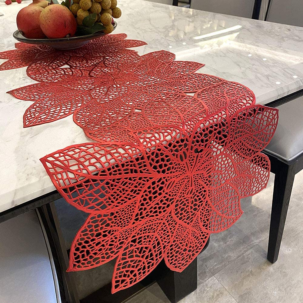 Candumy Table Runner PVC Creative Hollow Flower(14x36Inch) Simulation Bauhinia Washable Placemats, Non Slip PVC Table Runners Holidays Parties Decorfor Indoor Outdoor (Red)