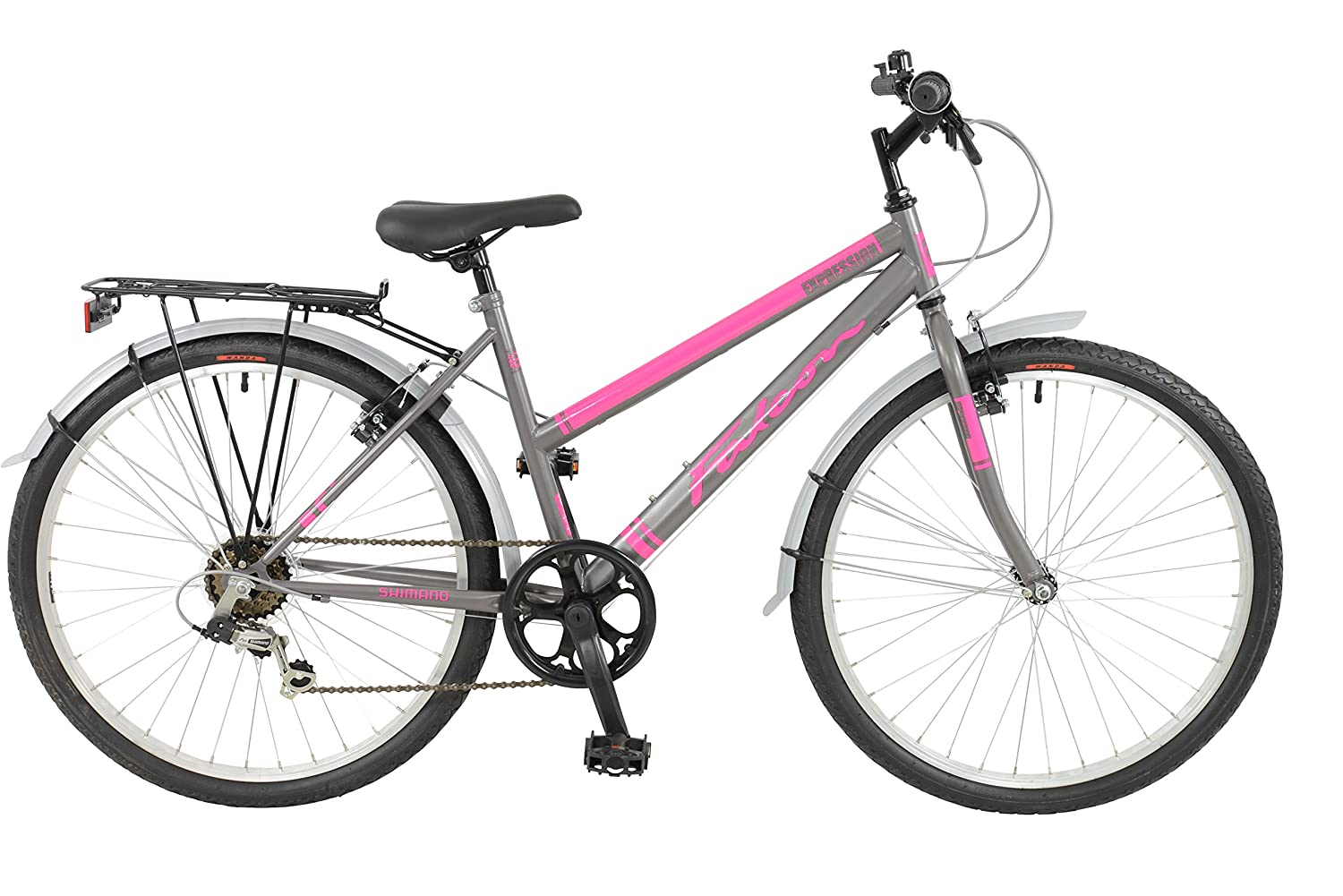 FalconExpression 2016 Unisex Mountain Bike Pink/Grey, 19 inch steel frame, 6 speed strong and lightweight alloy wheel rims front and rear v-brakes 19 inch steel frame
