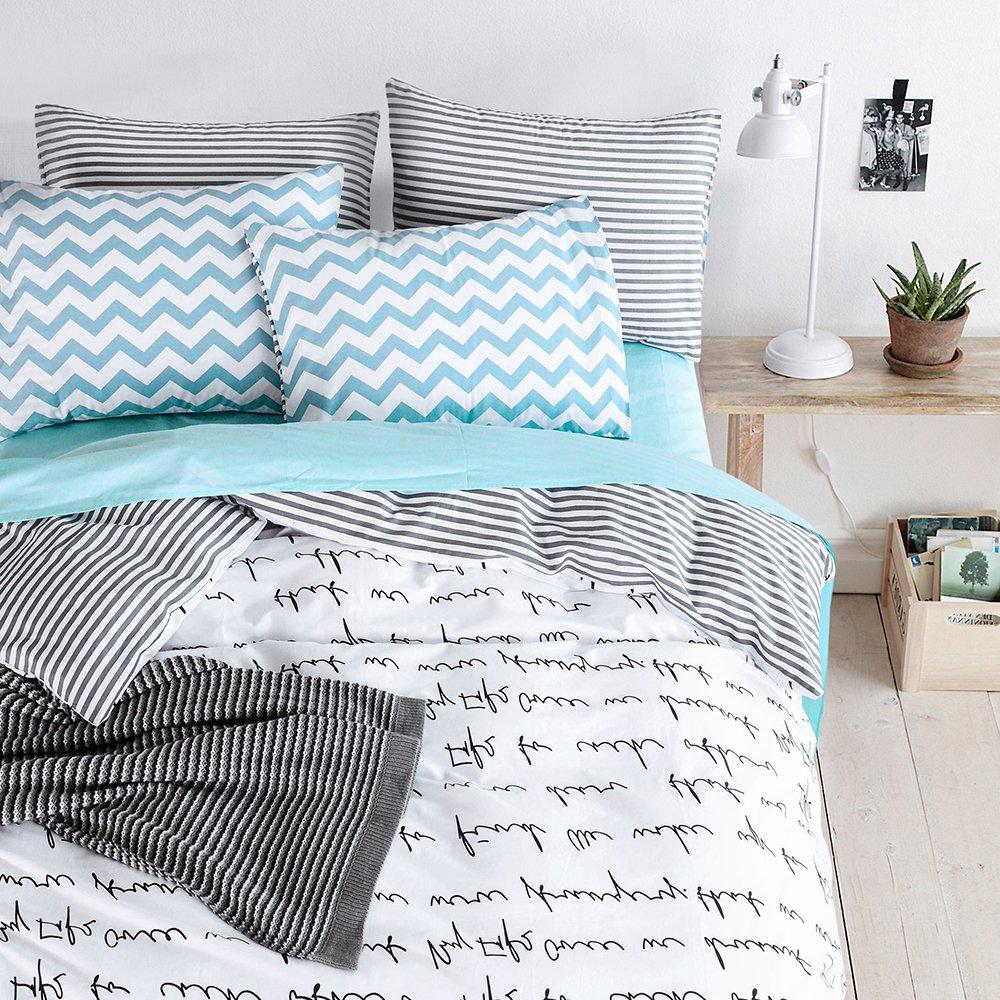 BuLuTu Black Letters Print Kids Duvet Cover Set Twin Cotton White,Reversible Stripe Super Soft Comforter Cover With 2 Pillowcases Zipper, 2018,Gifts for Girls,Women,NO COMFORTER