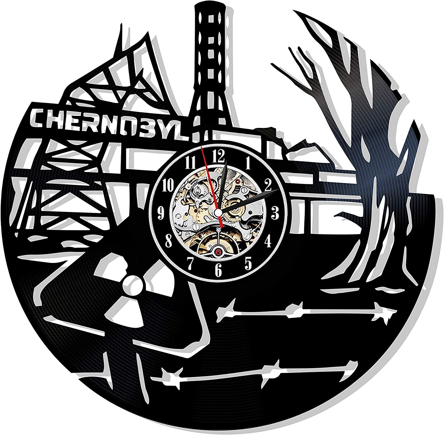Levescale - Chernobyl Vinyl Wall Clock Nuclear - Perfect Power Plant Gift for Scientist - Decoration for Office, Classroom - Radiation Reactor Ukraine Pripyat Radioactive Exclusion