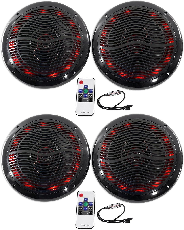 "(4) Rockville RMC65LB 6.5"" 1200w Black Marine Speakers w/Multi Color LED+Remote"