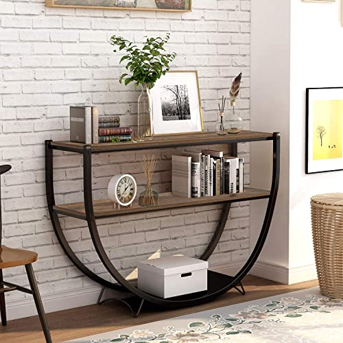 Retro Style Console Table 2 Tier Sofa Table for Entryway Sideboard with Storage Shelves Metal Frame