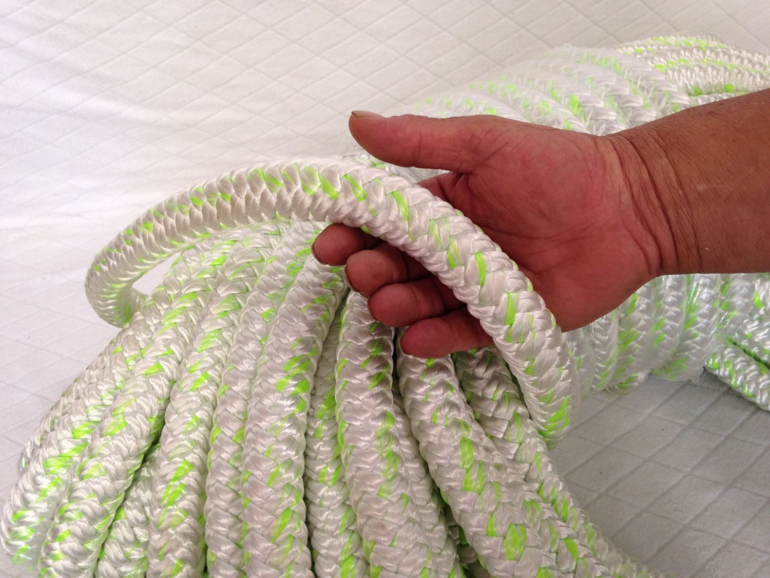 1'' X 100 Feet 12 carrier-24 strand Polyester Arborist Bull Rope, White/Green by Blue Ox Rope (Image #2)