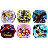 Perpetual Bliss (Pack of 12) Fancy Disney Theme Square Lunch Box Double Layer for Kids Return Gifts (Dimension)cm: 13x13x10
