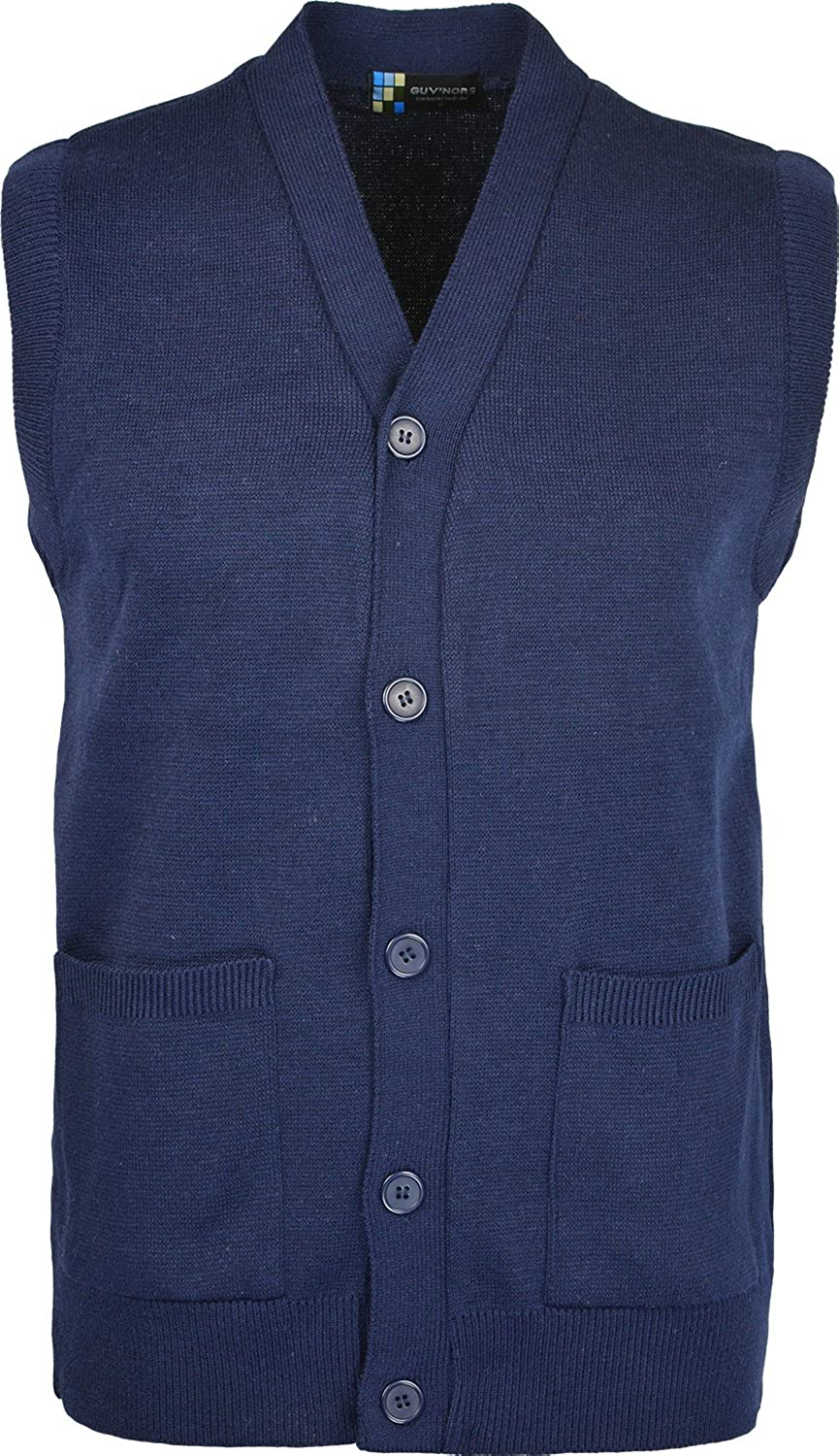 Mens Sleeveless Cardigan Knitted Button Waistcoat Classic Style Cardigans V Neck Plain Coloured