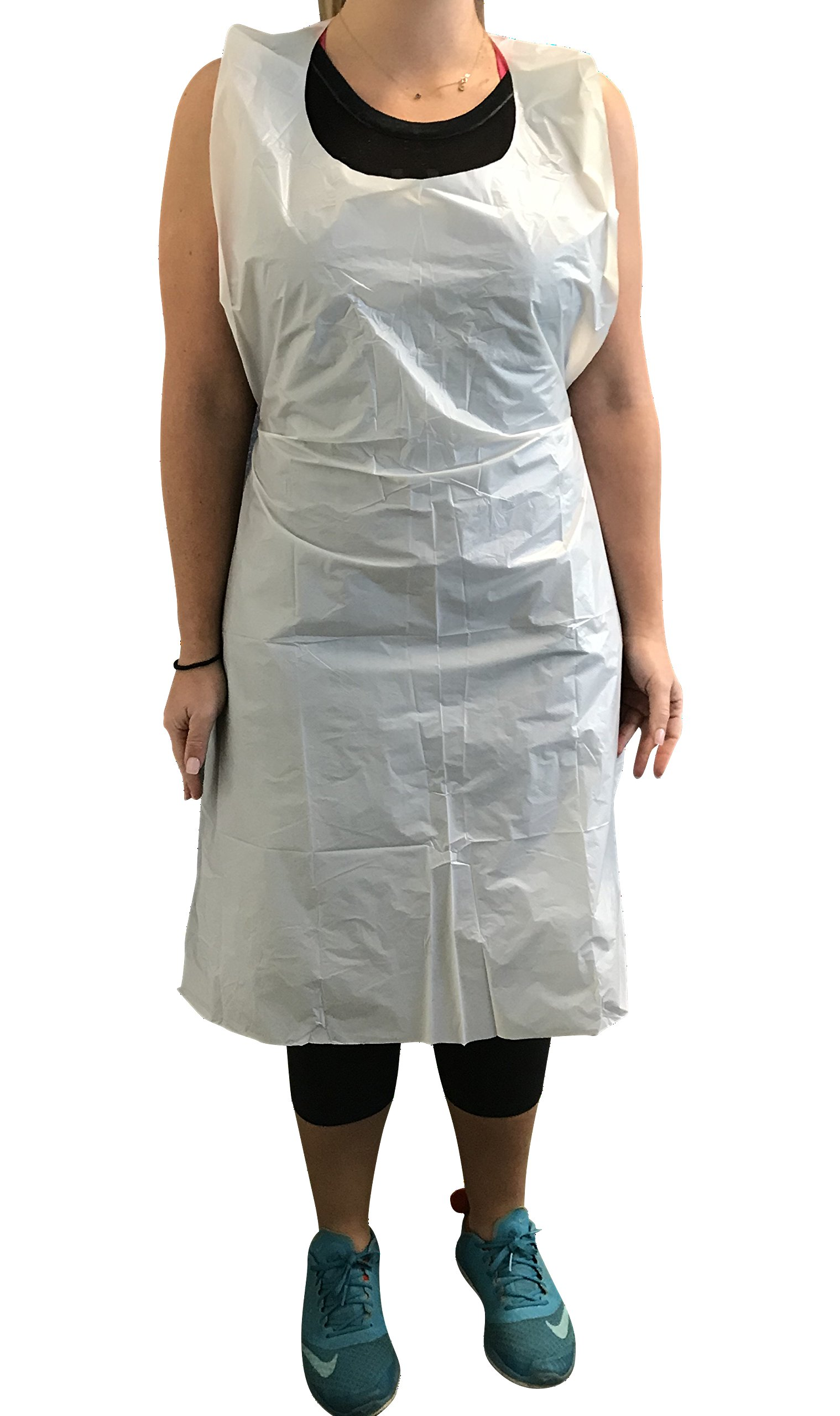KingSeal Disposable Poly Aprons, 24 x 42 inches, 0.8 mils thick, Individually Packed, White, Bib Style - 1 Box of 100 Aprons (100 aprons total)