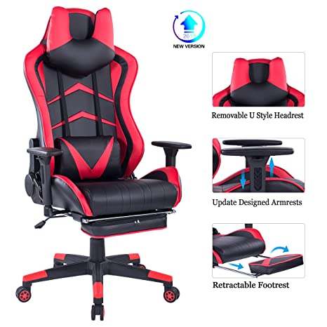 Miraculous Healgen Gaming Chair With U Headrest And Retractable Footrest Racing Style Pc Computer E Sport Chair High Back Ergonomic Pu Leather Office Desk Chair Gmtry Best Dining Table And Chair Ideas Images Gmtryco