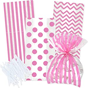 100 Light Pink Cellophane Bags with Twist Ties Pastel Pink for Baby Shower Girl Favor Goodie Bags in Polka Dots, Striped and Chevron Design