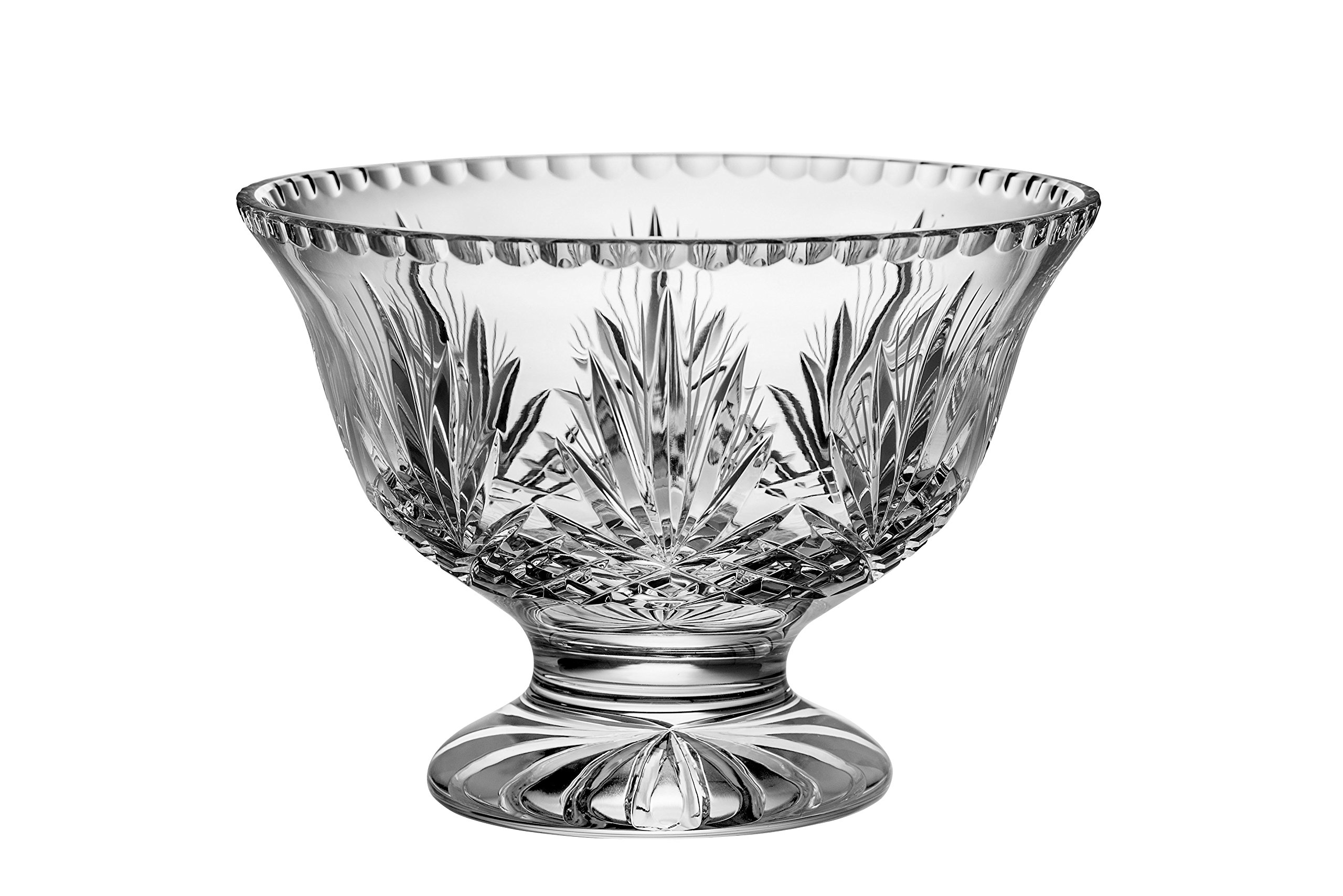 Majestic Gifts Hand Cut Crystal Footed Bowl 10'', Large, Clear