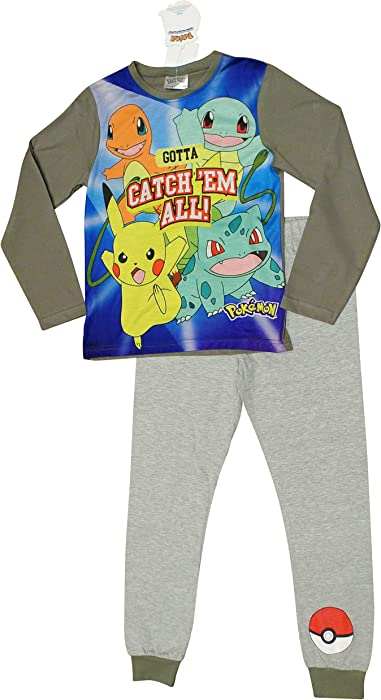 Boys Pokemon Pikachu Pajamas 7 to 13 Years COMPUTER GAME PJ Pokemon Go ss17